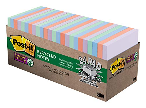 Post-it Super Sticky Recycled Notes, 3x3 in, 24 Pads, 2x the Sticking Power, Bali Collection, Pastel Colors (Lavender, Apricot, Blue, Pink, Mint), 30% Recycled Paper (654-24NH-CP) (Office Product)