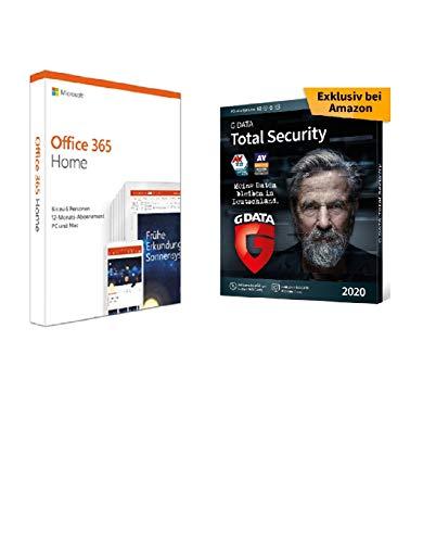 Microsoft Office 365 Home multilingual | 6 Nutzer | Aktivierungscode in einer Box + G DATA Total Security 2020 | 3 Geräte - 1 Jahr, DVD-ROM inkl. Webcam-Cover, Antivirus für Windows, Mac, Android, iOS