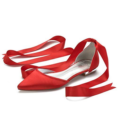 QXue Bailarinas para Mujer Zapatos De Novia Satén Zapatos De Boda Fiesta...
