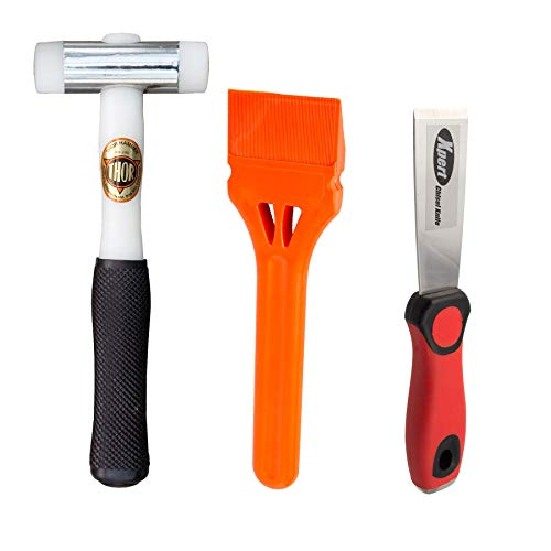 """Fensterverglasungswerkzeug-Set mit """"Thor""""-710-Nylon-Hammer, JCP-Verglasungspaddel und Xpert-Meißel (3-teiliges Set)"""