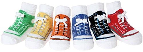 Baby Emporio - 6 pares de calcetines para bebé niño - Suelas antideslizantes - Algodón suave - Con cajita regalo - Efecto zapatillas Calcetines zapatillas (12-24 Meses, SNEAKERS-BOLSA)
