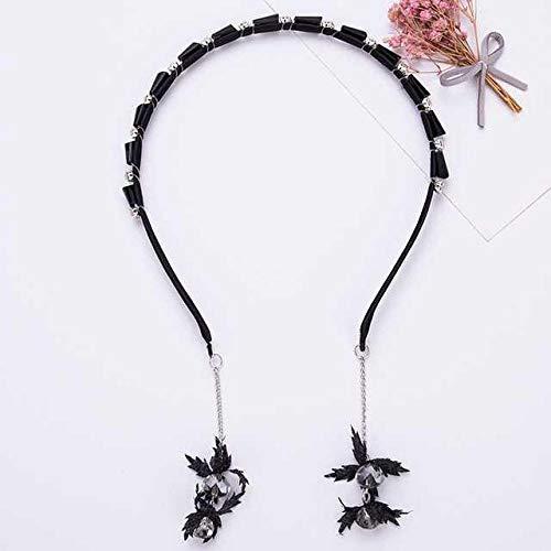 Accessoires pour cheveux Cerceau de cheveux antidérapant avec fausses boucles d'oreilles, pendentif perle pompon, bandeau princesse, tissu pour enfants dentelé-Strass noir