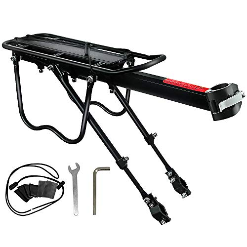 NOCHME Rear Bike Rack Carrier for Panniers Bags, Luggage, Cargo, 50kg Load, Aluminum Alloy Adjustable Mountain Bicycle Back Seat Rack Holder with Reflector for Cycling Camping Touring Sport