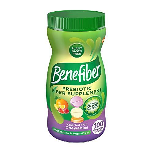 Benefiber Chewable Prebiotic Fiber Supplement Tablets for Digestive Health, Assorted Fruit, 100 Count