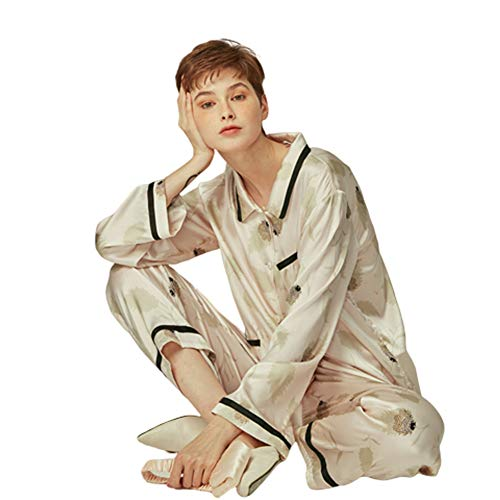YL Pajamas Women's Sleepwear Mulberry Silk Pajamas Can Be Worn Outside Leisure Outfit Long Sleeve Two-Piece Home Clothing