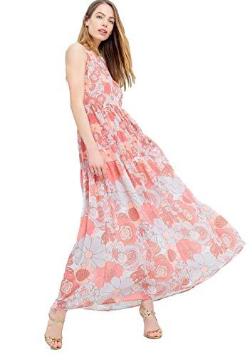 Fracomina FR19SMLUISA Langes Kleid mit Blumenmuster, Cocktail, Pink Small