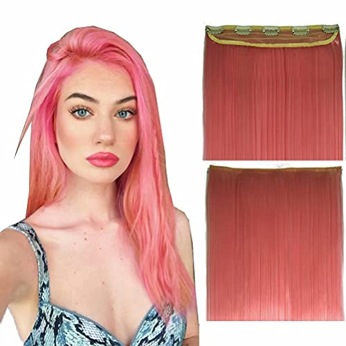 iLUU 24' Straight Synthetic Clip in Hair Extensions 100g One Piece Long Smooth Women Clip on Synthetic Hair Extensions for Multiple Styles (2311#-Pink, 5clips)