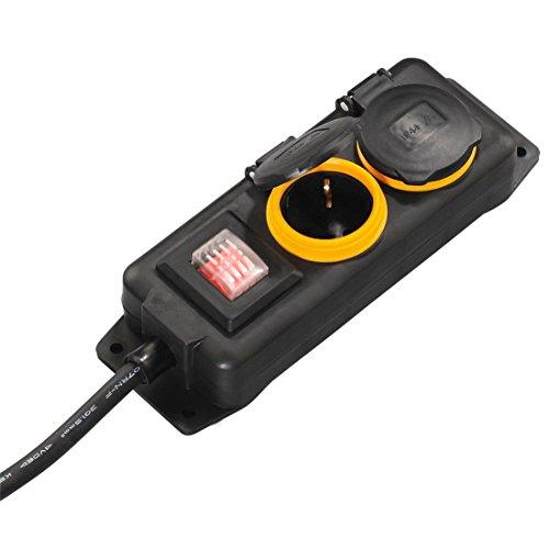 Hama Outdoor Steckdosenleiste mit Schalter, 2-fach, 2m (spritzwassergeschützt nach IP44, mit Klappdeckel, zur Wandmontage geeignet) Außenbereich Mehrfachsteckdose schwarz