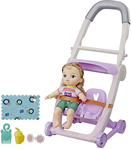 Baby Alive Littles, Push ?N Kick Stroller, Little Ana, Blonde Hair Doll, Legs Kick, 6 Accessories, Toy for Kids Ages 3 Years Old & Up