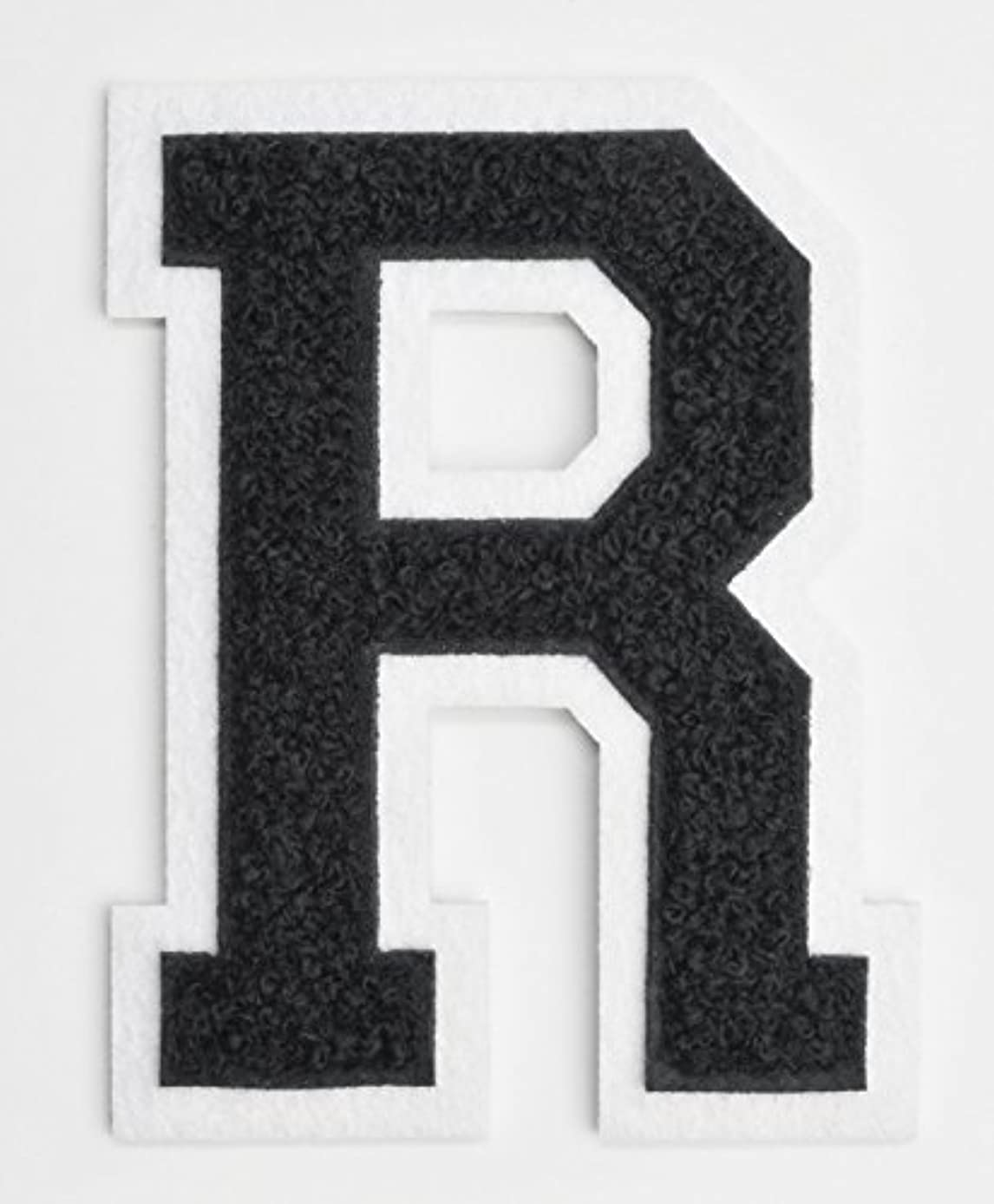 Varsity Letter Patches - Black Embroidered Chenille Letterman Patch - 4 1/2 inch Iron-On Letter Initials (Black, Letter R Patch)
