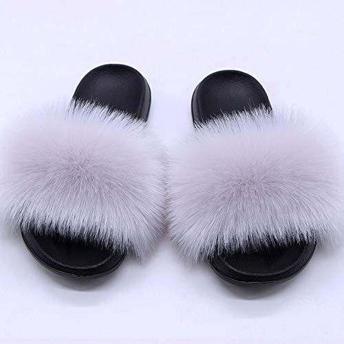 JXILY Zapatillas Mullidas de Mujer, Zapatillas de Pelusa de Zorro de Verano Calientes Sandalias Planas para el hogar Chanclas de Interior Zapatillas de casa para Mujer mullidas,Light Grey,45
