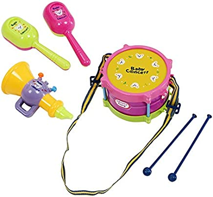 New 5pcs Roll Drum Musical Instruments Band Kit Kids Children Toy Gift Set : Colorful