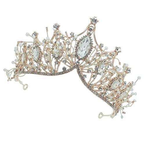 PIXNOR Coronas Barrocas Tiaras de Boda de Cristal para Novias Damas de Honor Diamantes de Imitación Traje de Baile Tocado Reina Accesorios para El Cabello para Mujeres Niñas Dorado