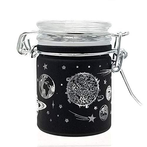 Airtight Glass Herb Stash Jar with Clamping Lid in Choice of Design (Black Frosted Galaxy)