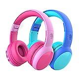 Cuffie Bluetooth per Bambini, Limitatore audio a 85 dB, Bambini Cuffie Senza Fili Over Ear, Stereo Cuffie per Bambini con Microfono, Cuffie Pieghevoli per Ragazzi e Ragazze - 2 pacchi