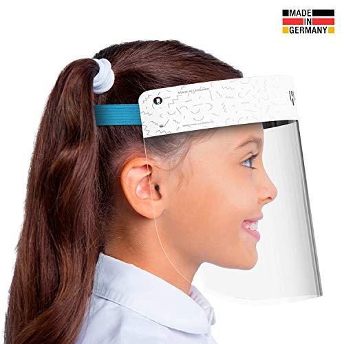 HARD 1x Pro visor Visiera protettiva, Certificato medico, Schermo facciale di sicurezza Antinebbia Face Shield, Prodotto in Germania, Bambini - Bianco/Blu