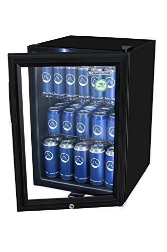 Mini-Kühlschrank in Schwarz (62 l) | Kleiner Getränke-Kühlschrank mit Glas-Tür & LED-Beleuchtung 64 x 43 x 48 cm | Getränkekühlschrank, Flaschenkühlschrank freistehend | Großer Stauraum für Getränke