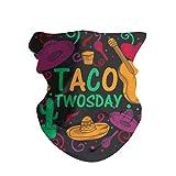 ANTOPM Tacos Cactus Taco Twosday Unisex Seamless Rave Bandana Neck Gaiter Tube Mask Headwear White