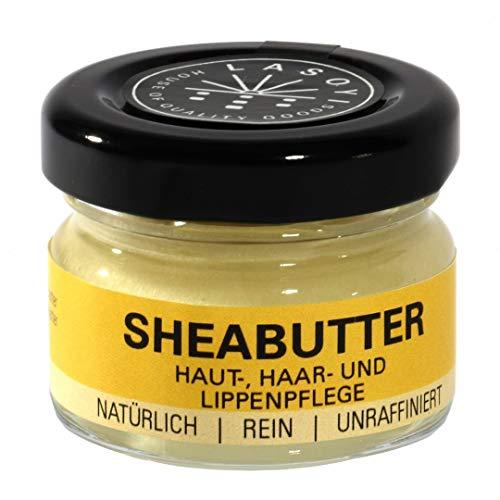 LASOYI® Sheabutter (30 ml) im Glastiegel - Unraffiniert aus Wildsammlung, hergestellt in traditioneller Handarbeit in Ghana - Plastikfreie, vegane und fair gehandelte Naturkosmetik