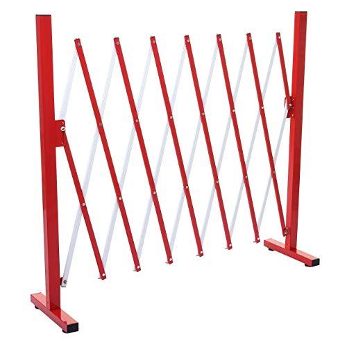 Mendler Absperrgitter HWC-B34, Scherengitter Zaun Schutzgitter ausziehbar, Alu rot-weiß - Höhe 103cm, Breite 28-200cm