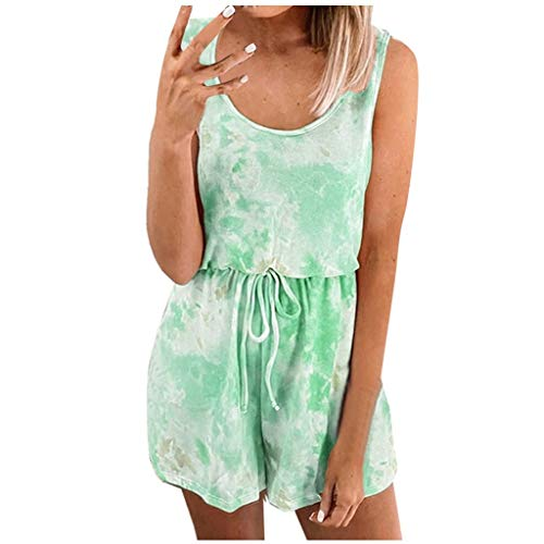 Amazing Deal Toimothcn Tie-Dye Rainbow Rompers for Womens Sleeveless Jumpsuit Tank Top Shorts Romper...