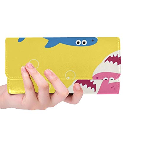 Único Personalizado Bebé Tiburón Dibujo Mujeres Monedero Tríptico Monedero Largo Titular de la Tarjeta de Crédito Caso Bolso