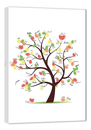 galleryy.net Fingerabdruck Leinwand 45x30 INKL Zubehör-Set (Stempelkissen+Stift+Anleitung+Hochzeitsbuch+...) GRATIS - Hochzeitsbaum Fingerabdruck Gäste - Wedding Tree Leinwand - Hochzeitsspiel