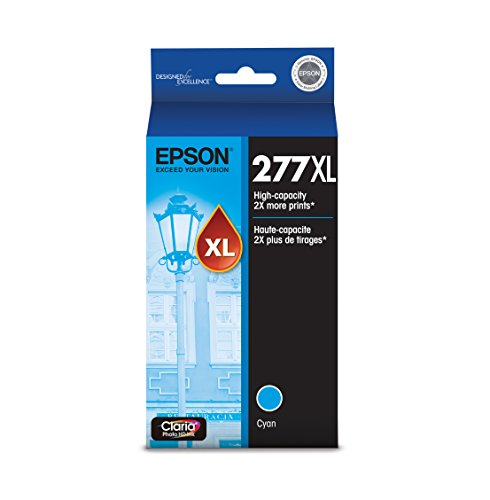 EPSON T277 Claria Photo HD Ink High Capacity Cyan Cartridge (T277XL220-S) for Select Epson Expression Printers
