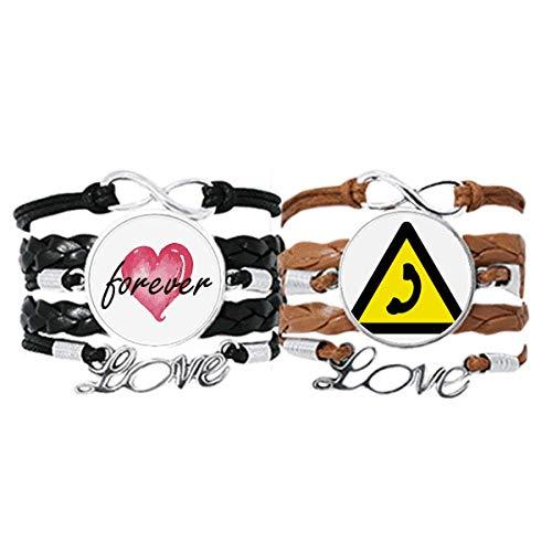 Bestchong Símbolo de advertencia amarillo negro llamada pulsera correa de mano cuerda de cuero Forever Love pulsera doble conjunto