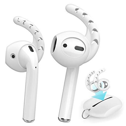 AhaStyle 3 Pairs AirPods Ear Hooks Anti-Slip Silicone Ear Cover Accessories Compatible with AirPods 1 and 2 or EarPods Headphones(Milk White)