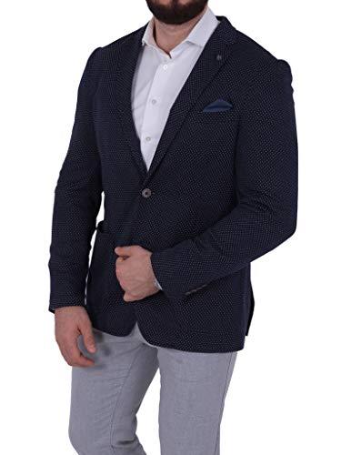 bruno banani Herren Jersey Sakko Casual gepunktet Blazer Zweiknopf Jackett Anzug Slim Fit, Größe S, Marineblau