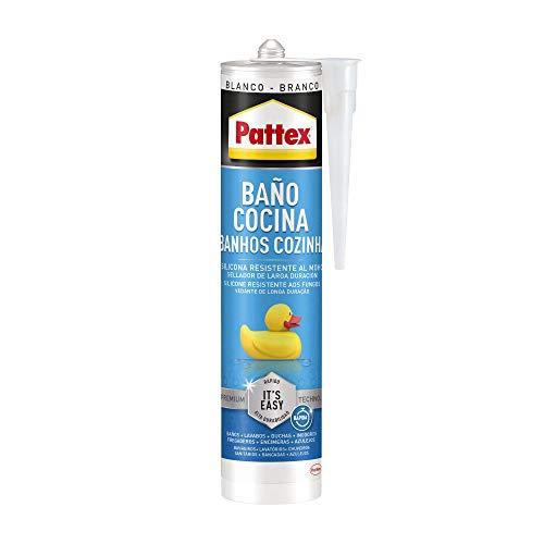 Pattex Baño y Cocina, silicona blanca resistente al moho, sellador impermeable para ducha, lavabo y más, silicona para baño duradera y fácil de usar, 1 cartucho x 280 ml, blanco - branco