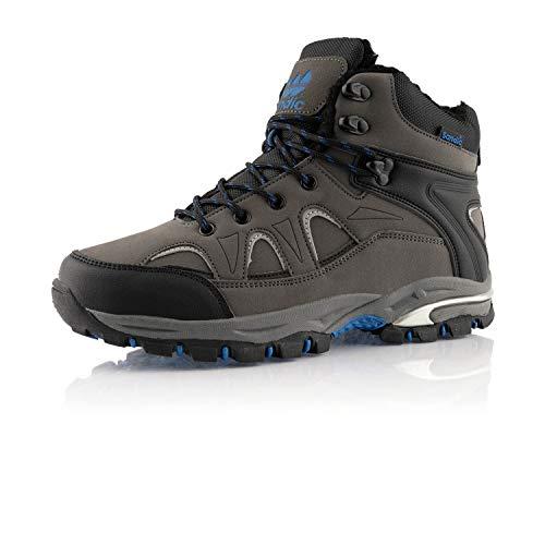 Fusskleidung Damen Herren Outdoor Boots Warm Gefütterte Stiefel Übergrößen Winter Stiefeletten Schuhe Grau Blau EU 48