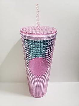 Starbucks 2021 Summer Pink and Blue Grid Kaleidoscope 24 oz Venti Tumbler