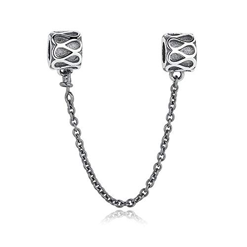 Love Heart Safety Chain 925 Sterling Silver Screw Threaded Safety Chain Charm For European Style Bracelet (Raindrop Safety Chain)