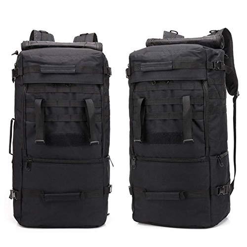 SHRAY 56-75L Camouflage Tactical Backpack Multifunctional Shoulder Bag Outdoor Hiking Backpack Sports Bag Multifunction Camping Oxford Cloth Waterproof Black