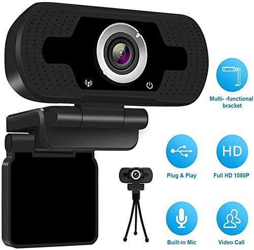 TenSky Webcam Full HD 1080P,USB Webcam con Microfono Stereo Telecamera Audio Stereo per Streaming Laptop e Desktop,Webcam PRO Stream con videochiamata Plug&Play Nero