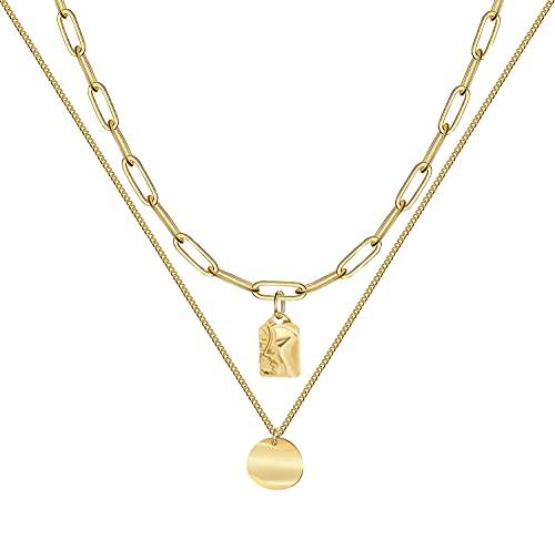 LIHELEI Donna Collana Lunga, Placcato Oro 14K Collana Girocollo per Donna Ragazza Gioielli con Confezione Regalo