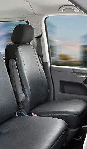 Walser 11455 Autoschonbezüge Transporter Passform, Kunstleder Sitzbezug anthrazit kompatibel mit VW T5, Einzelsitz vorne