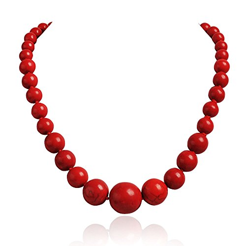Jane Stone Fashion Elegant Multi-size Coral Red Beaded Funky Necklace Statement Bib Jewelry For Mummy(Fn1270-Red)