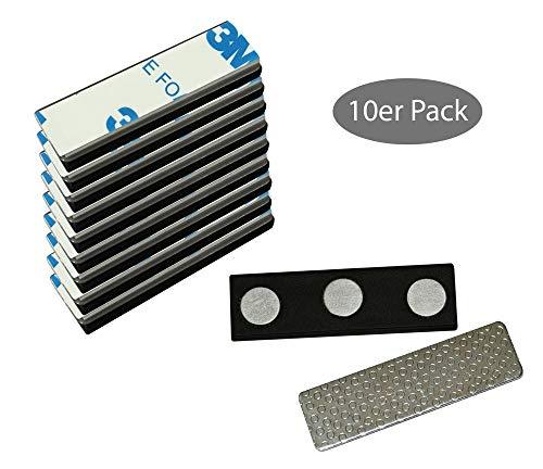10 extra starke 3-Fach Magnete mit Metall Plättchen selbstklebend 3M Neodym Magnet Namensschild für Kleidung Metallplättchen Ausweishüllen Beschriften Whiteboard Namensschildchen Kühlschrank basteln