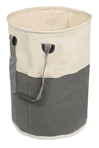 Birdrock Home Cloth–portabiancheria con manici, Lino, Gray & White, Rotondo