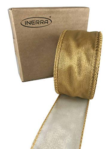 INERRA Chiffon Ribbon - Luxury Wired Edge 20 Metres x 50mm - Range of Colours (Gold)