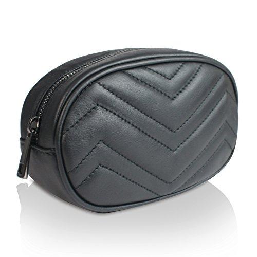 Glamexx24 Marsupio vera Palle da Donna con elegante cintura a fibbia, portasoldi, elegante borsetta per viaggio Made in Italy Nero