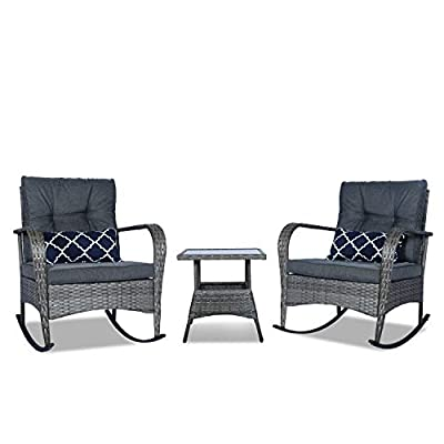 FUNKOCO 3 Pieces Patio PE Rattan Conversation Chair Set, Outdoor Furniture Rocking Chair Set with Water-Proof Cushion&Coffee Table for Garden,Backyard and Porch (Dark Grey)