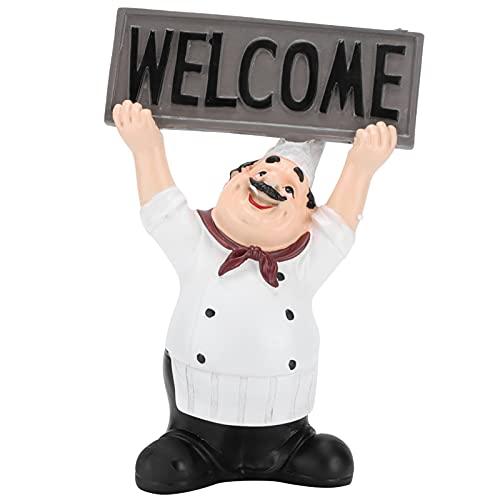 Adornos decorativos de resina, decoraciones de interior Figuras de chef de resina Adornos decorativos Decoración de cocina para cocina Restaurante Tienda para mesa de encimera