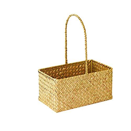 FDSFD Yellow picnic basket, natural woven wooden basket, double handle storage, children's toy flower basket, desktop storage basket for household use.