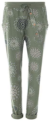 Fashion YOU WANT Damen Jogginghose Gr. 36-50 Sweatpants Sterne Boyfriend Ali Baba Style Anker Camouflage Uni Blumen Muster (46/48, PB khaki)