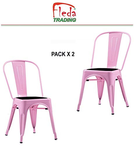 Fleda TRADING Industrial Design Metal Chair - Tòlix Type Pack of 2 CHAIRS with Cushion (Pink)