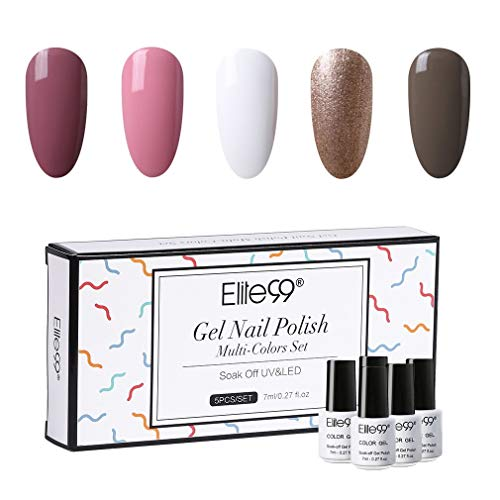 Elite99 Multi Farben Klassisch UV Nagellack Set UV Gel Polish Set LED Gellack Gel Polish UV LED Soak Off Nägel Set Gel Nagellack 5stk verschiedene Farben Gel 7ML C003
